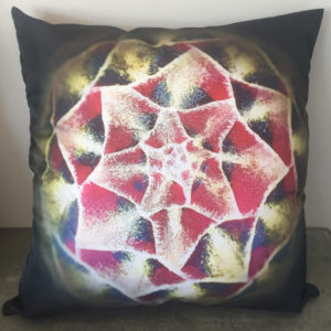 Protea red black and green bud cushion